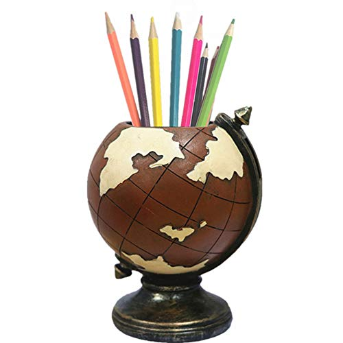 MUAMAX Vintage Globe Pen Pencil Holder Brown Kids Men Gifts Home Office Nostalgic Decoration Table Decorations Supplies]()