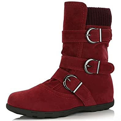 DailyShoes Women's Winter Snow Boots with Buckles Durable Traction Warm Cozy Ankle Mid Calf Slouch Perfect for Fall and Snow Seasons, Wine SV, 5.5 B(M) US