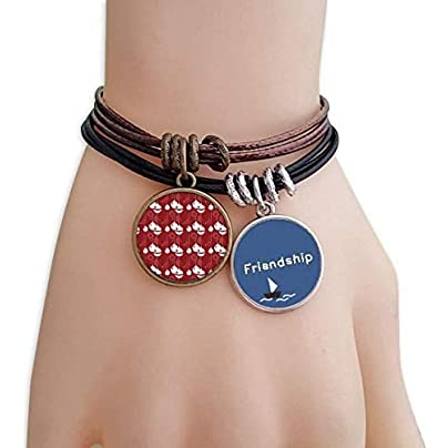 YMNW Red Decoration White Pattern Christmas Friendship Bracelet Leather Rope Wristband Couple Set Estimated Price -