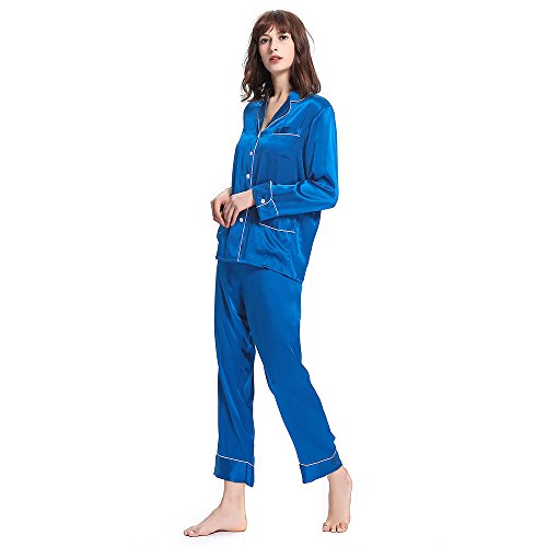 LILYSILK Women's Long Silk Pajamas Set V Neck Notched Collar with White Trimmed (XL/18, Diamond Blue)