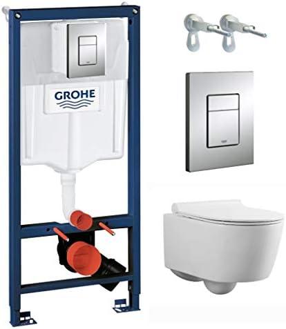 Grohe Vorwandelement inkl. Drückerplatte chrom + Lavita Wand WC Capri ohne Spülrand + WC-Sitz mit Soft-Close-Absenkautomatik + Wand-Halter-Set