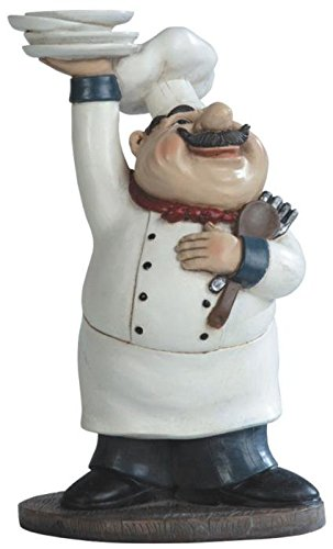 George S. Chen Imports SS-G-65003 Chef Holding Plates Figurine, 10.75""