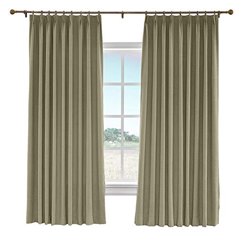 cololeaf 52 W x 63 L Pinch Pleat Faux Linen Blackout Lined Curtains Drapery Panel for Traverse Rod Or Track, Living Room Bedroom Meetingroom Club Theater Patio Door,Taupe Grey (1 Panel) -