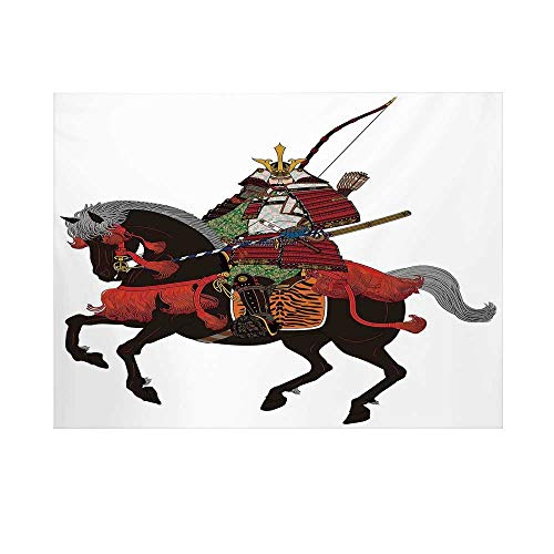 Japanese Photography Background,Shogun Wearing Armour with Arrow on Prancing Horse Courage Warfare Illustration Backdrop for Studio,10x10ft