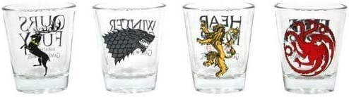 Juego de Tronos - Set de 4 vasos chupito (SD Toys SDTHBO02075) Game of Thrones Set 4 Vasos Chupito, 22.5 x 6.5 x 6.5 cm, 4 Unidades