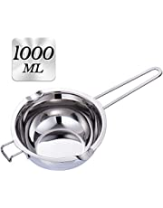 Large Double Boiler - 304(18/8)1000ML Stainless Steel Melting Pot with Heat Resistant Handle, Large Baking Tools for Melting Chocolate, Butter, Candy and Candle