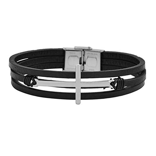 Magna Steel Men's Multi-Strand Genuine Leather Bracelet with Stainless Steel Classic Cross Pendant, Silver