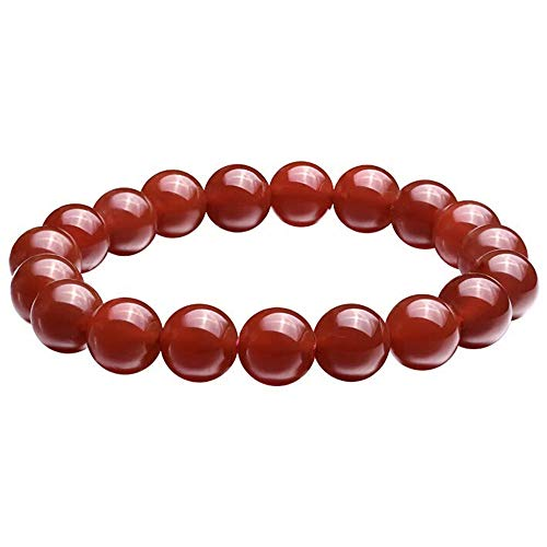 BOOSCA Jewelry Gifts for Men and Women Natural Gemstone Agate Stretch Bead Bracelet Red Onyx 12mm