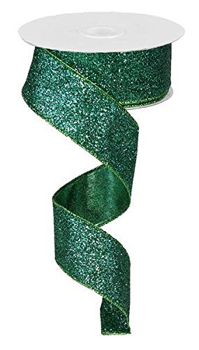 Glitter on Metallic Wired Edge Ribbon, 1.5