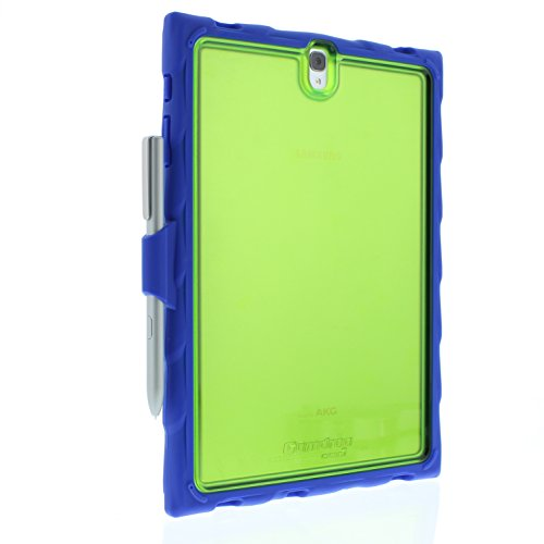Gumdrop Cases Droptech Clear for Samsung Galaxy Tab S3 Rugged Tablet Case Shock Absorbing Cover, Royal Blue / Lime by Gumdrop Cases