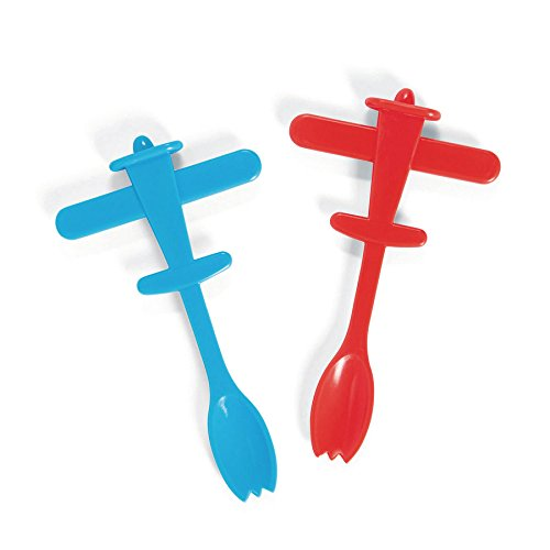 Fun Express - Plastic Plane Picks W/Spoons (25pc) for Birthday - Party Supplies - Serveware & Barware - Picks & Stirrers & Parasols - Birthday - 25 Pieces