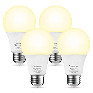 SmartLED Bulb 50W Equivalent Dimmable Light, LOHAS720LM Warm White 2700K Smart LED WiFi A19 Light Bulb with E26 Base Workwith Alexa Google Home Siri, 8 Watt APP Control, No Hue Required, 4 Pack