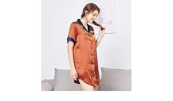 Lindas ropas de noche Spinning seda sexy camisón damas verano camisa de seda pijamas de mujeres servicio a domicilio (Color: Marrón, Tamaño: XL) Camisón sexy (Color : Brown , tamaño :