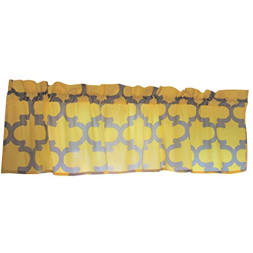 Yellow Curtain Valance for Windows - Crabtree Collection - Yellow/Gray Trellis (16 x 60)