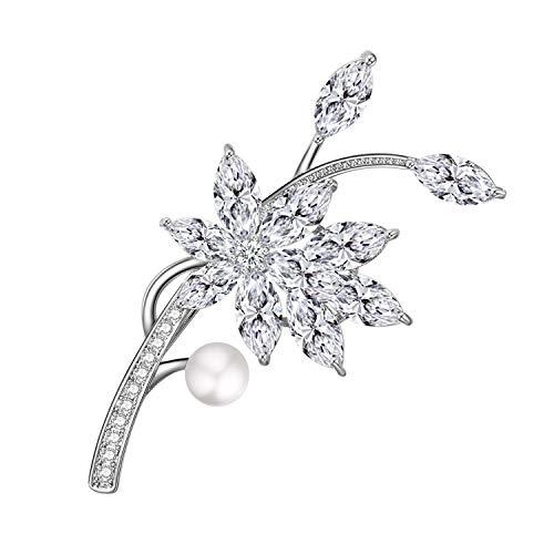 Yonhi Brooch Pins for Women Vintage Flower Brooch Pins for Women Wedding Party Jewelry Brooch Pin Silver (Silver 1)