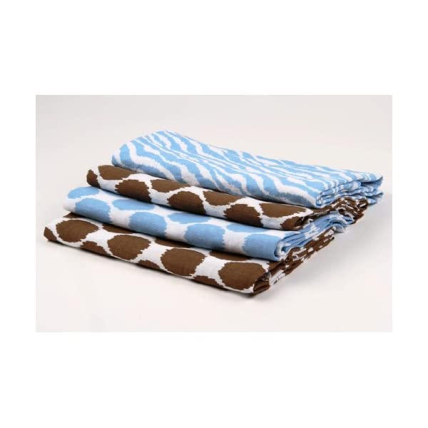Bacati Ikat Blue/Chocolate Swaddling Muslin Blankets Set of 4