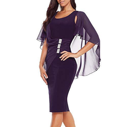 Women's Plus Size Chiffon Ruffled Charming Trumpet Sleeves Slim Soft Round Neck Pencil Party Dress(XL,XXL,XXXL) ((US16-18) XL, Purple)