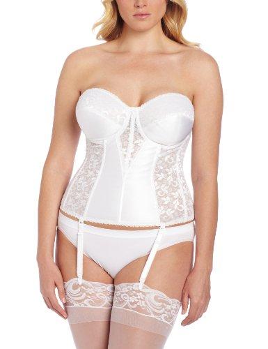 Carnival Women's Plus Size Full Figure Lace Corset Bra, White