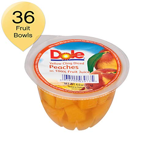 DOLE FRUIT BOWLS, Diced Peaches in 100% Fruit Juice, 4 Ounce (36 Cups) (Best All Natural Fruit Juices)
