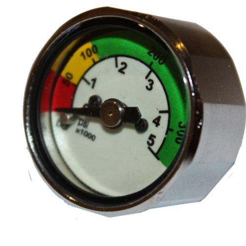 JCS 1inch Dia. Pony Bottle Mini Pressure Gauge with PSI & BAR Readings (Pressure Gauge Pony)