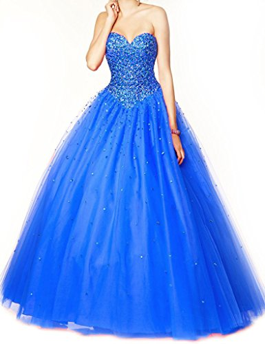 Dearta Women's A-Line Sweetheart Lace-up Quinceanera Dresses Royal US 6 (Big Poofy Dresses)