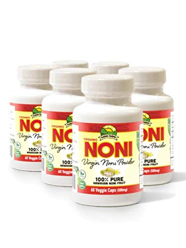 Virgin Noni Powder - 100% Pure Noni Powder Capsules, Certified Organic - Pack of 4 Bottles