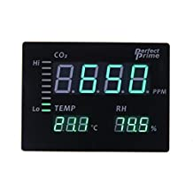 Perfect Prime CO2008 Carbon Dioxide CO2 Temperature Humidity Monitor Large LED Screen