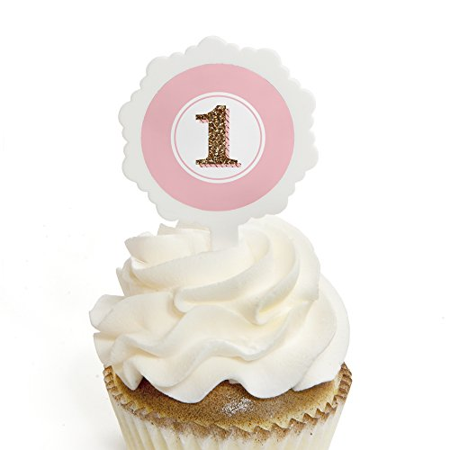 Fun to be One - 1st Birthday Girl - Cupcake Picks with Stickers - Party Cupcake Toppers - 12 Count