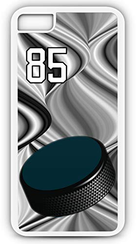 iPhone 7 Case Hockey H056Z Choice of Any Personalized Name or Number Tough Phone Case by TYD Designs in White Plastic and Black Rubber with Team Jersey Number 85