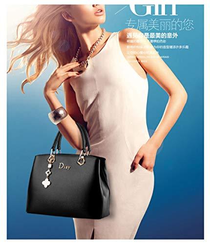 PU Borsa Lavoro Immagazzinaggio Viaggio Donna Shopping Bag Capacità Donna Cosmetici Di Da Messenger Borsa Sacchetto Bag Black In Moda Borsa Grande Secchio Tracolla Pelle Da XqwzBT