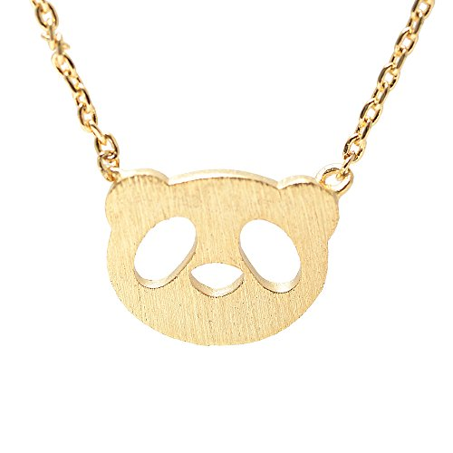 SpinningDaisy Handcrafted Brushed Metal Panda Head Necklace Gold -