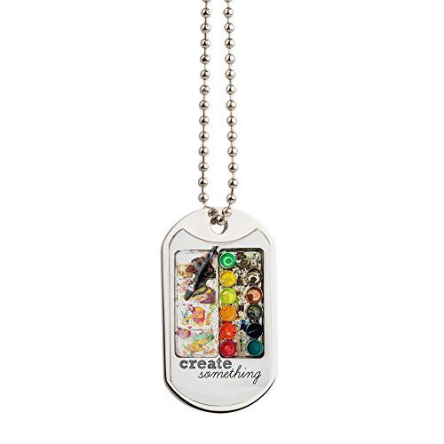 CafePress - Create Something Dog Tag - Military Style Dog Tag, Stainless Steel with Chain (Artists Palette Magnet)