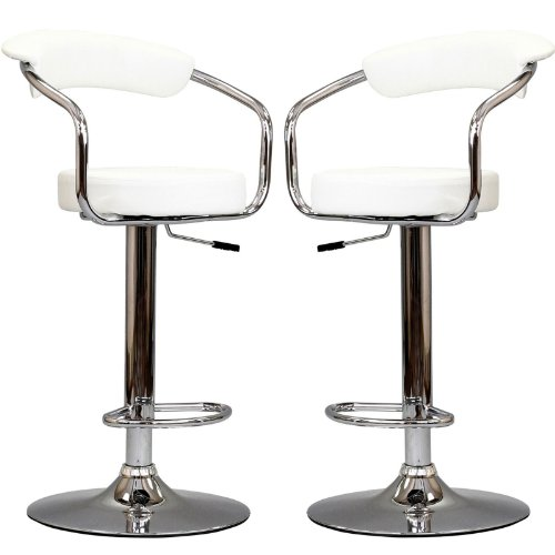 Modway Diner Retro Faux Leather Adjustable Bar Stools in White – Set of 2 For Sale