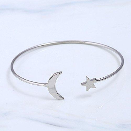 ... Armreif Frauen Silber Mond Vergoldet Armbänder Runde Kupfer Sterne  QiXuan Manschette Öffnen xgaUqI ... 90bd333f44