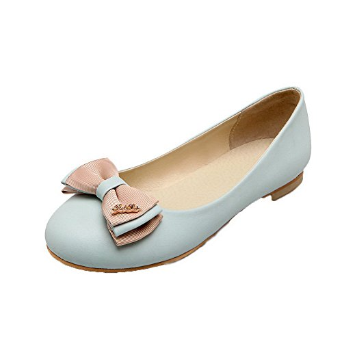 Non Fermeture Unie Tire Légeres Couleur Talon Bleu Chaussures D'orteil Femme Agoolar Clair OwqUSS