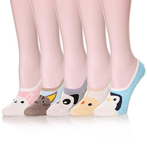 Color City Womens Novelty Cute Funny Ankle Socks - Cartoon Animal No Show  Low Cut Socks (5 Pairs Cartoon A)