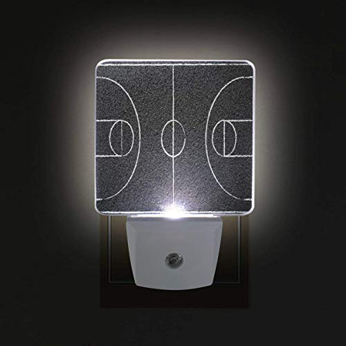 xiaodengyeluwd 2 Pack Street Basketball Court Plug in LED Night Light Auto Sensor Dusk to Dawn Decorative Night for Bedroom, Bathroom, Kitchen, Hallway, Stairs,Hallway,Baby's Room ()