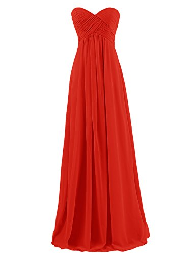 DRESSTELLS Sweetheart Bridesmaid Chiffon Prom Dresses Long Evening Gowns for Juniors Plus Size 22W Red
