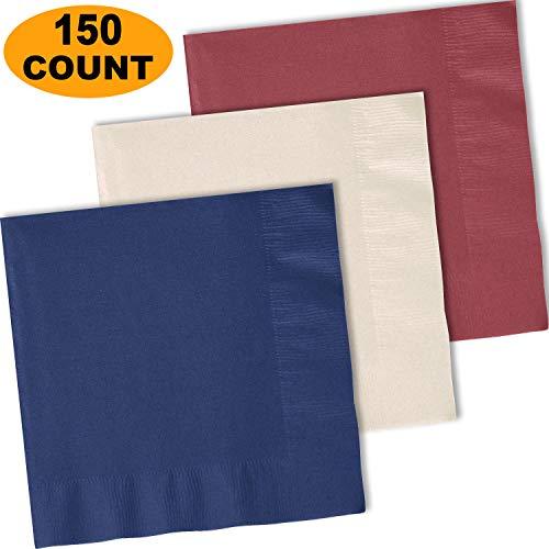 (150 Lunch Napkins, Navy blue, Ivory, Burgundy - 50 Each Color. 2 Ply Paper Dinner Napkins. 6.5