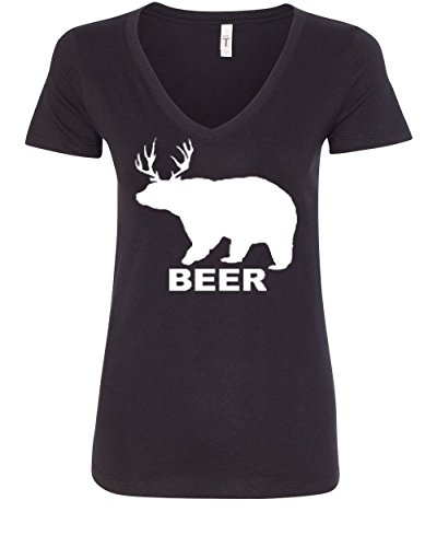 Beer Womens V-neck T-shirt - Bear + Deer = Beer Funny Drinking V-Neck T-Shirt Beer Black M