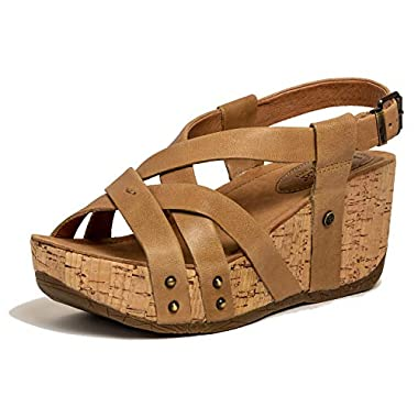 1a158eb4485d Bussola Women s Fabia Leather Strappy Open Toe Platform Wedge Buckle  Sandal(Sand Gobba