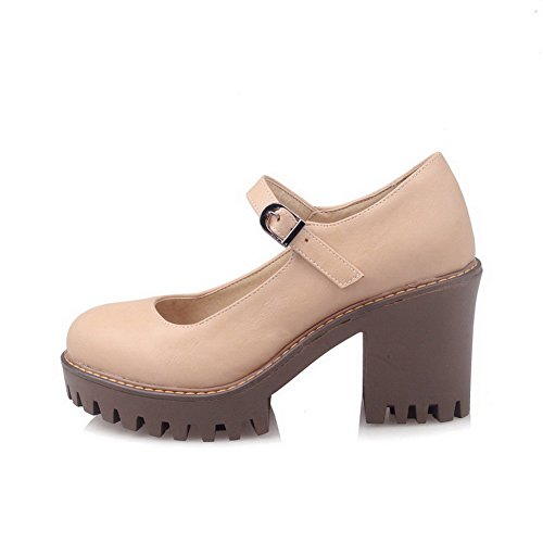 AgooLar Damen Niedriger Absatz PU Rein Rund Zehe Ziehen auf Stiefel, Aprikosen Farbe, 39