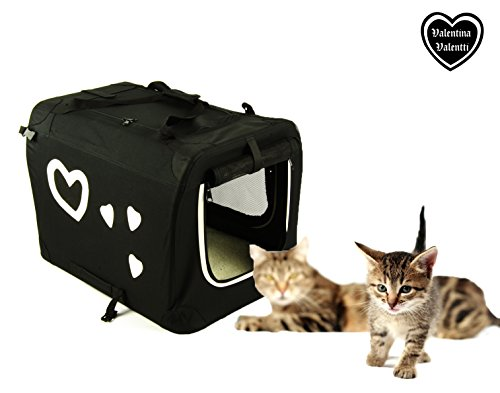 Valentina Valentti Pet Cat Small Dog Carrier Transport Crate With Hearts S Size black/white