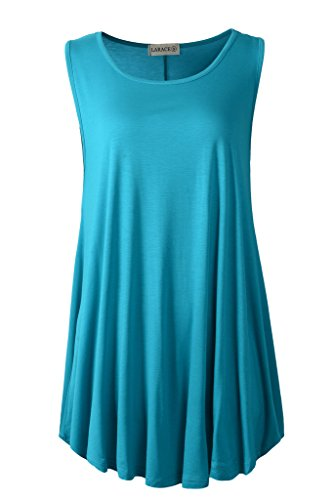 LARACE Women Solid Sleeveless Tunic for Leggings Swing Flare Tank Tops (1X, Lake Blue)
