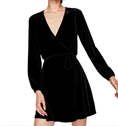 Partito Black1 Vestito Mini Lunga Manica Loose Strappy Autunno Collo Coolred donne V Mini Fit HWwfq6w8