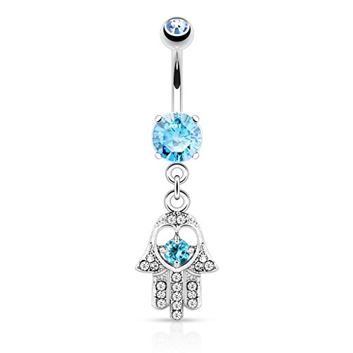 Hamsa Hand with Cz Accents Dangle Belly Button Ring - 316L Surgical Steel 14g Dangle Navel Ring - Choose Clear, Pink, or Aqua (Aqua)
