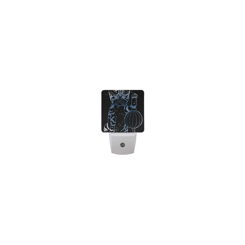 MNSRUU 2 PC Plug-in LED Night Light Lamp Beckoning cat Japanese cat Cute Cute Black Black Printing with Dusk to Dawn Sensor for Bedroom, Bathroom, Hallway, Stairways, 0.5W