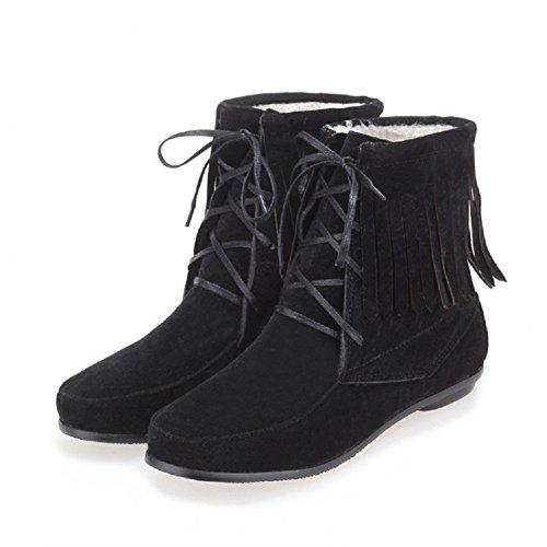 Charm Foot Fashion Mujeres Low Heel Short Con Flecos Botas Negro