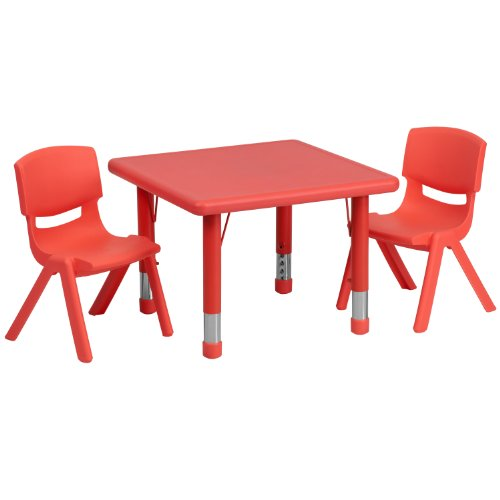 Flash Furniture 24'' Square Red Plastic Height Adjustable Activity Table Set with 2 Chairs (Wholesale Furniture Sets)