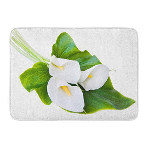 - OUTDRART Bath Mat Flower Yellow Lily Three White Calla Lilies Leaf Green Cala Arum Bathroom Decor Rug 16